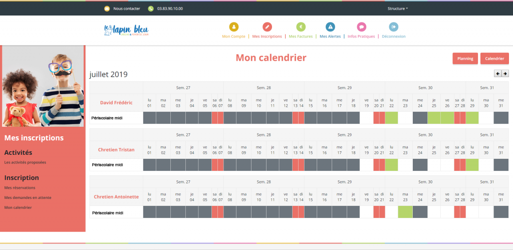 application logiciel portail familles calendrier des inscriptions activités